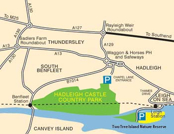 Hadleigh Castle Country Park and Two Tree Island Nature Reserve location