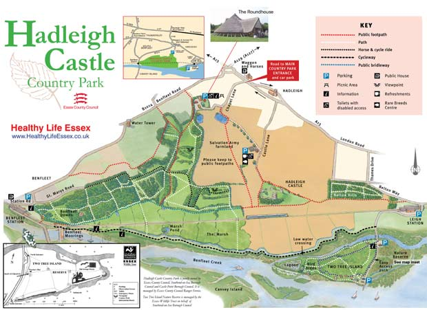 Hadleigh Castle Country Park and Two Tree Island Nature Reserve map