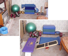 Typical home training area and gym equipment