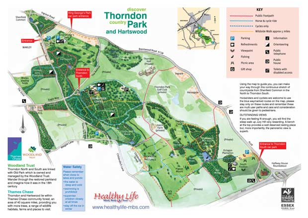 Thorndon Country Park and Hartswood map