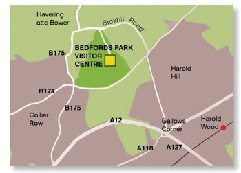 Bedfords Park and Visitor Centre location