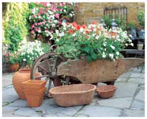Decorative wheelbarrow plant container