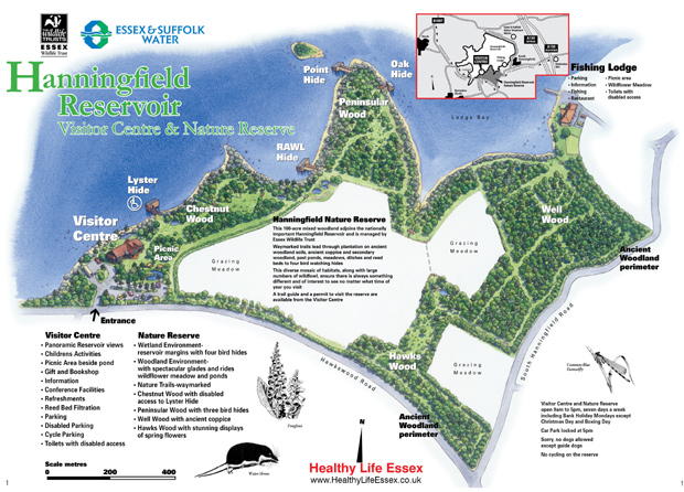 Hanningfield Reservoir - Nature Reserve and Visitor Centre map
