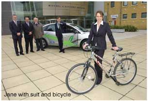 Jane with suit and bicycle