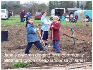 Janes_Children working on the allotment