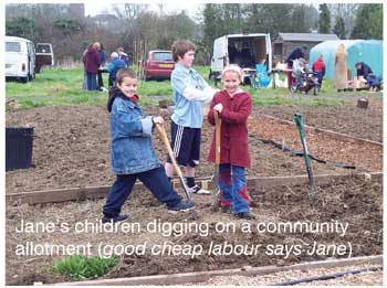 Jane's children digging on a community allotment (good cheap labour says Jane)