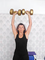 Standing dumbell shoulder press - middle position