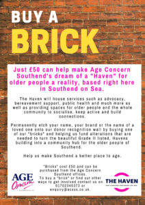 Buy a Brick to support Age concern's development of the Haven