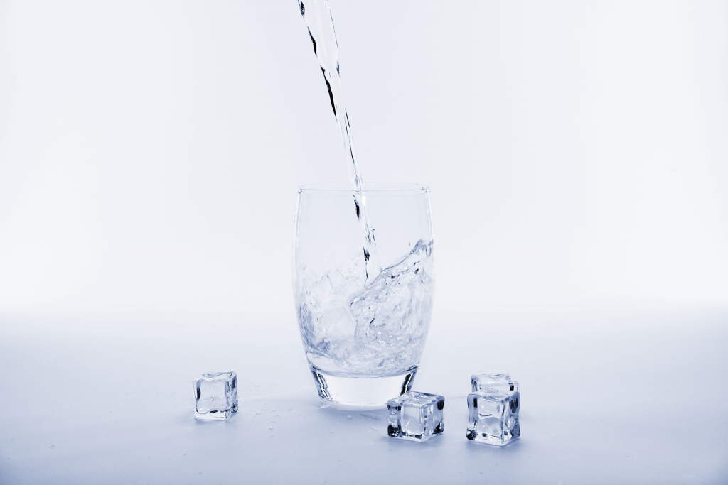 glass water and ice cubes,
