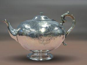 antigue silver teapot