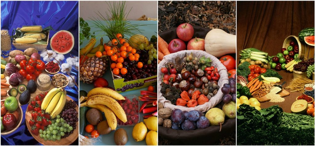 fruit veg and nuts collage