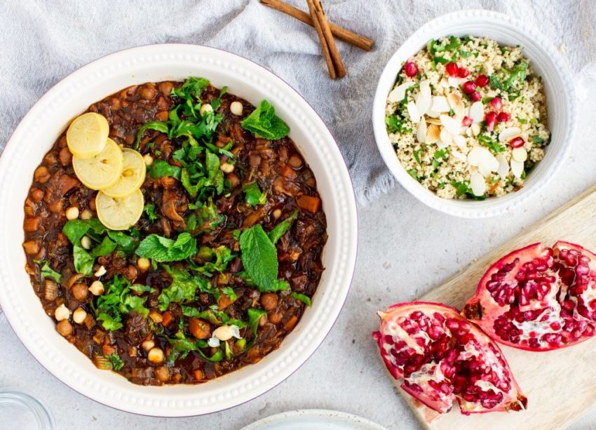 Saffron-Scented Vegetable Tagine on a Bed of Herbed Couscous