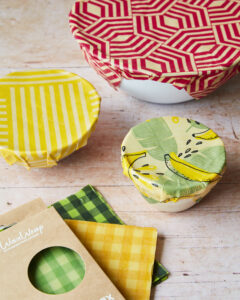 wax wraps are colourful and effective as you can see from these covered bowls